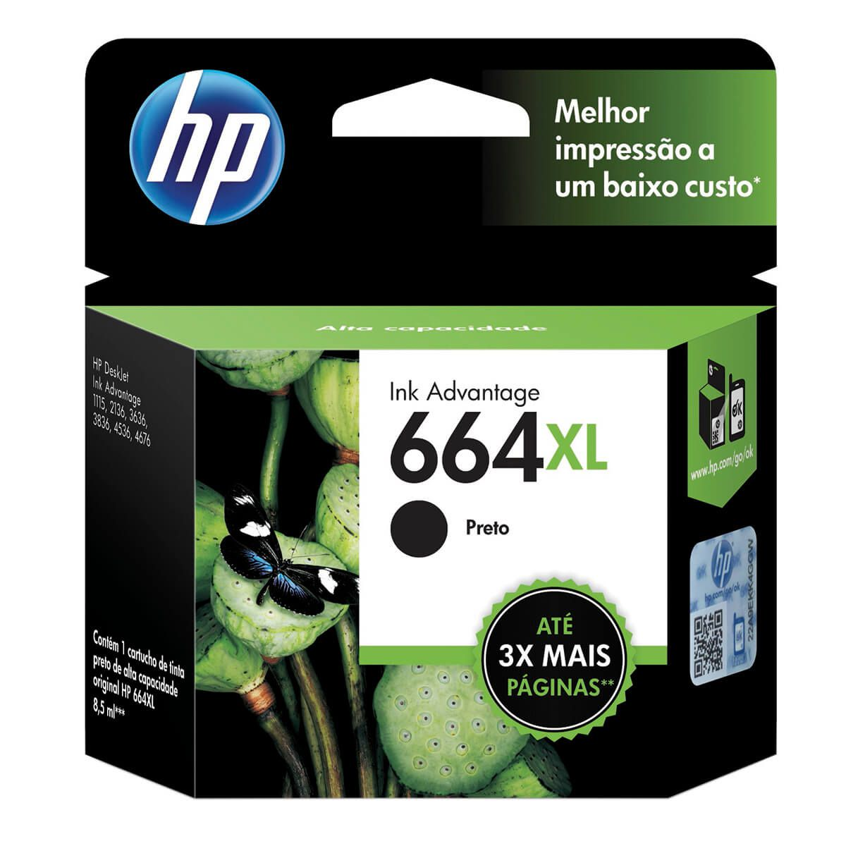 Cartucho HP FV31AB 664XL Preto 8,5ml Original