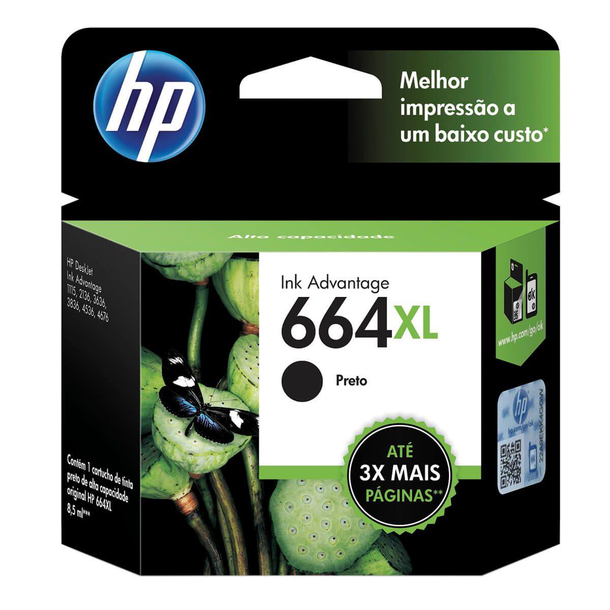 Cartucho HP FV31AB 664XL Preto 8,5ml Original