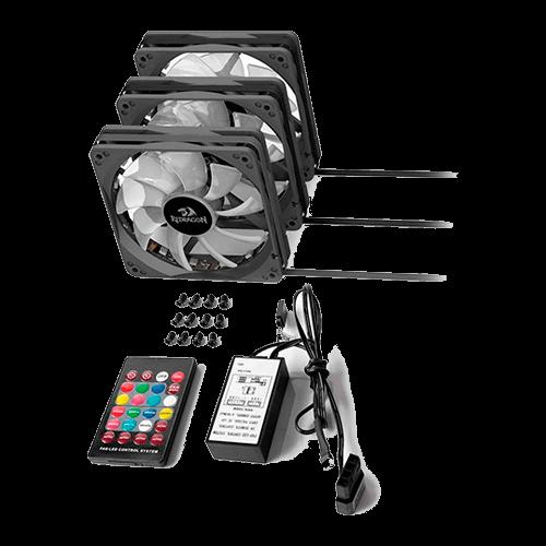 Cooler Kit 03 Fans GC-F006 Redragon com Controle Remoto