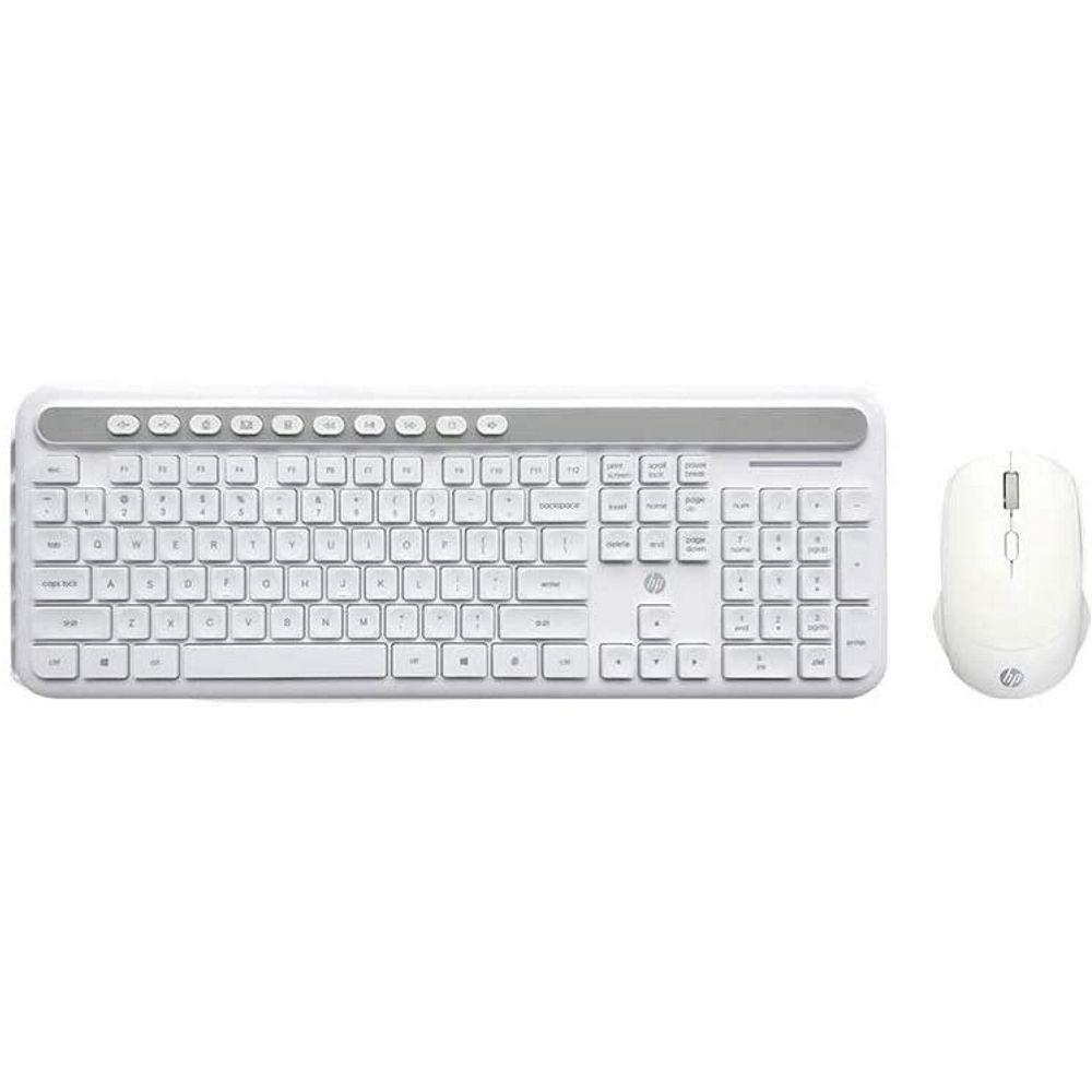 Kit Teclado + Mouse Sem Fio Branco HP CS500