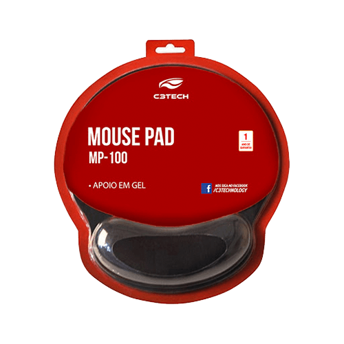 Mouse Pad com Apoio Gel C3Tech MP100