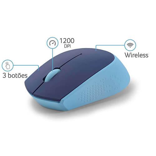 Mouse sem fio MO259 2.4Ghz Azul Multilaser