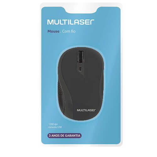 Mouse Usb Emborrachado MO222 Preto Multilaser