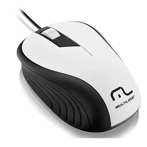 Mouse Usb Emborrachado MO224 Branco Multilaser