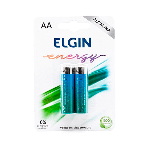 Pilha Alcalina AA Pequena  Elgin Cartela 02 unidades