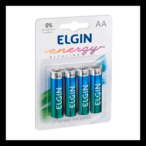 Pilha Alcalina AA Pequena Elgin Cartela 04 unidades