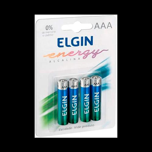 Pilha Alcalina AAA Palito Elgin Cartela 04 unidades
