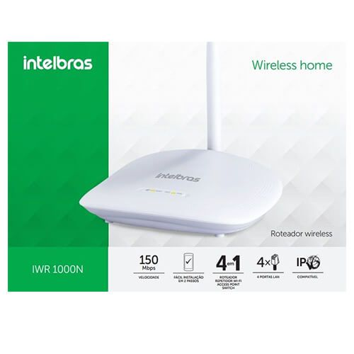 Roteador Wireless 01 antena Intelbras 150MBps WR1000
