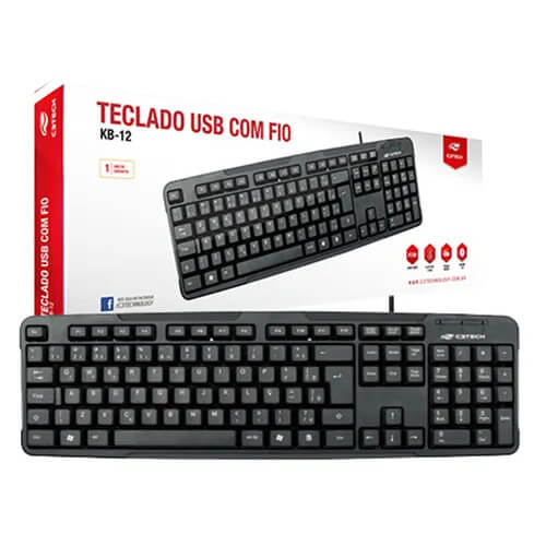 Teclado Usb Basico KB12BK C3Tech 1,5mt