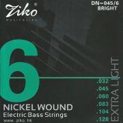 Encordoamento Ziko em Aço 0.45 para Contrabaixo 6 Cordas