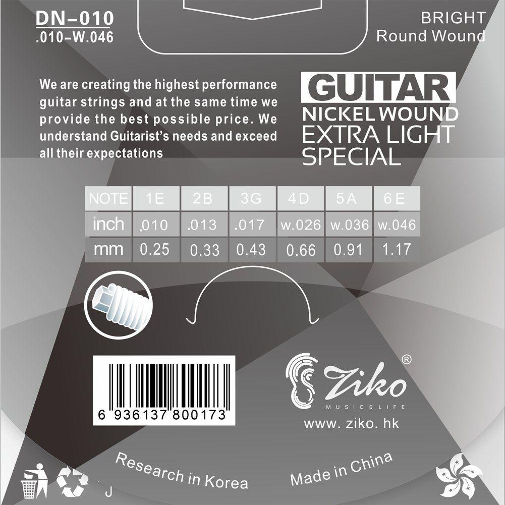 Encordoamento Ziko em Aço 0.10 para Guitarra DN-010