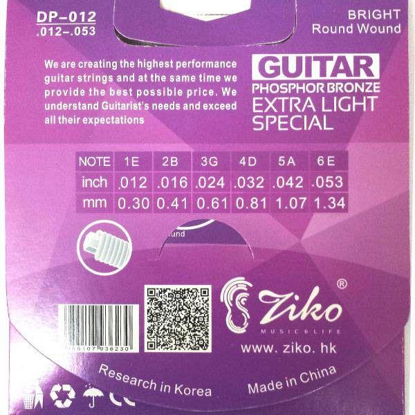 Encordoamento Ziko em Aço 0.12 para Violão DP-012