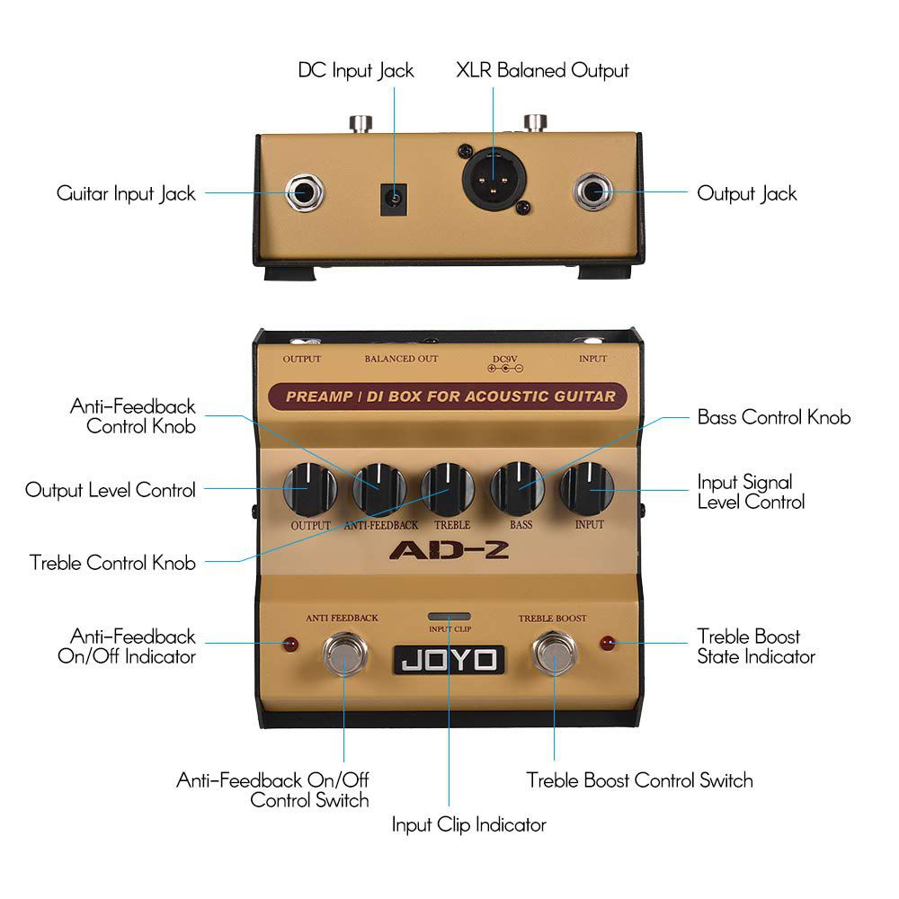 Pedal de Violão Joyo Preamp e Direct Box AD-2