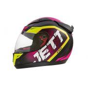Capacete De Moto Jett Evo Line Rosa Amarelo