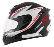 Capacete De Moto Mixs MX2 Carbon Preto Fosco/Vermelho