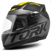 Capacete de Moto Evolution G7 Preto Fosco/Amarelo Tamanho 60