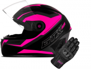 Kit Capacete Mixs GTX Rosa + Luva Blackout X11 Feminina