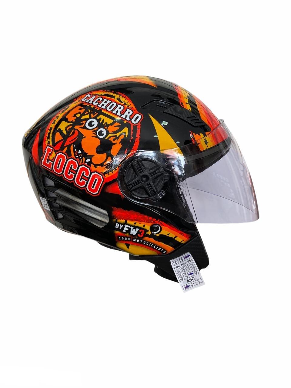 Capacete de moto aberto Cachorro Locco X-Open preto brilhante