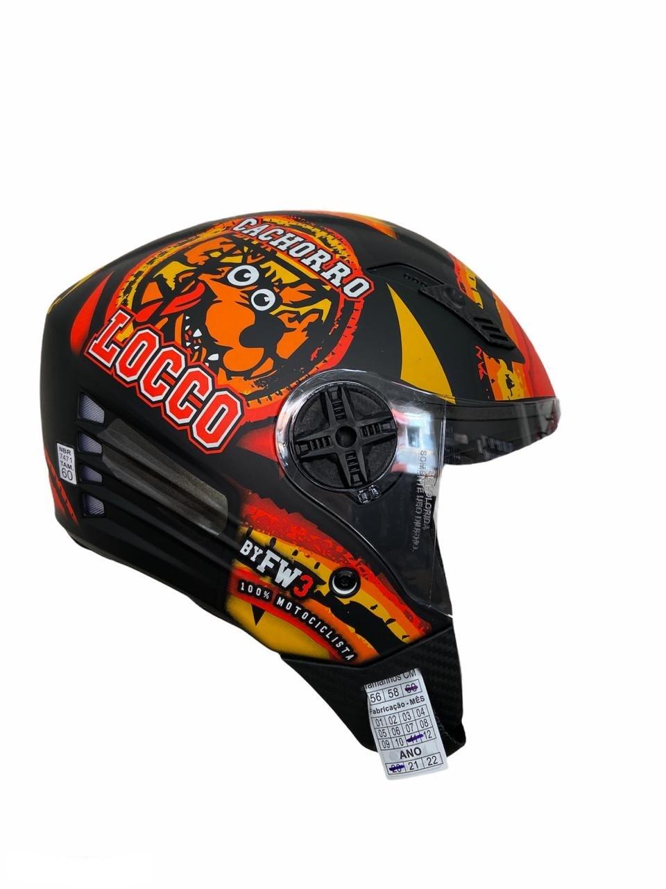 Capacete de moto aberto Cachorro Locco X-Open preto fosco