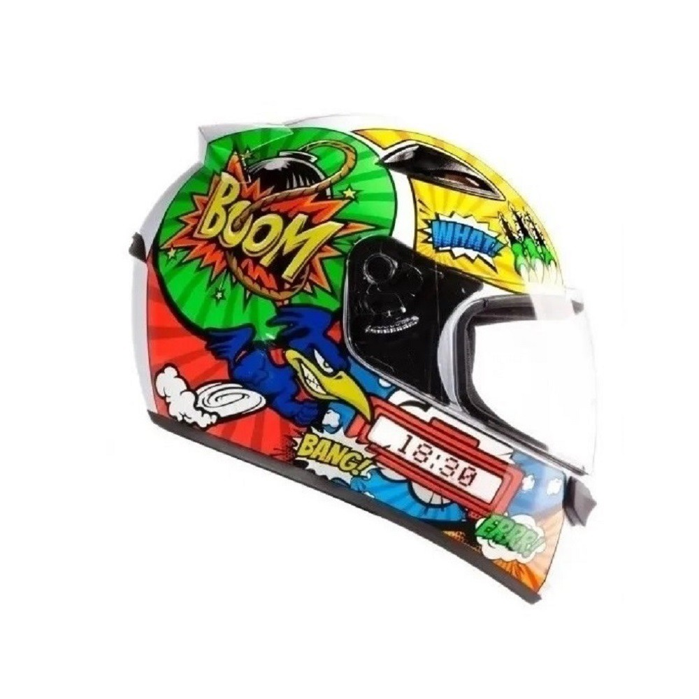 Capacete de moto EBF New Spark Cartoon Birds branco