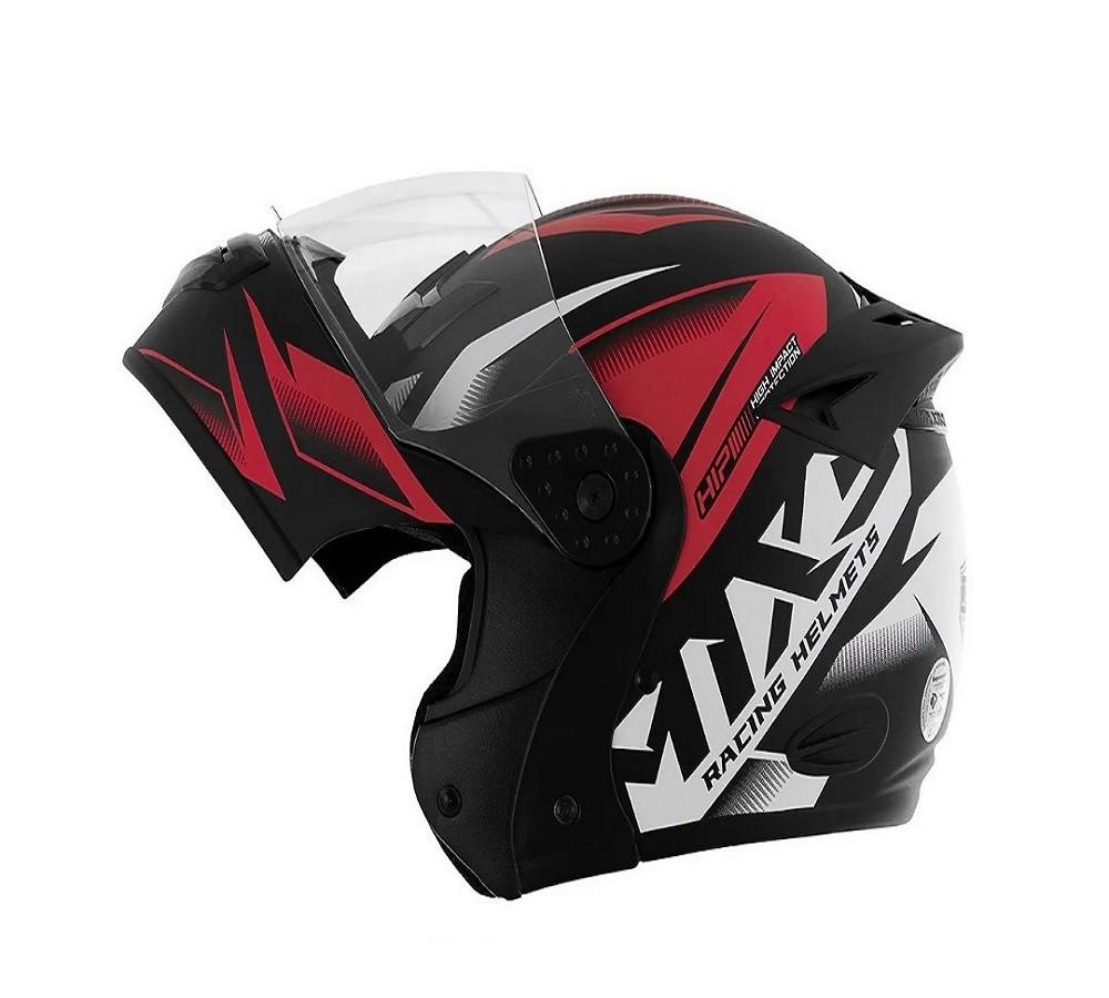 Capacete de moto escamoteável Mixs Gladiator Storm preto brilhante/vermelho