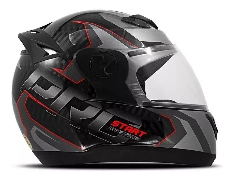 Capacete De Moto Evolution G7 Vermelho/Prata