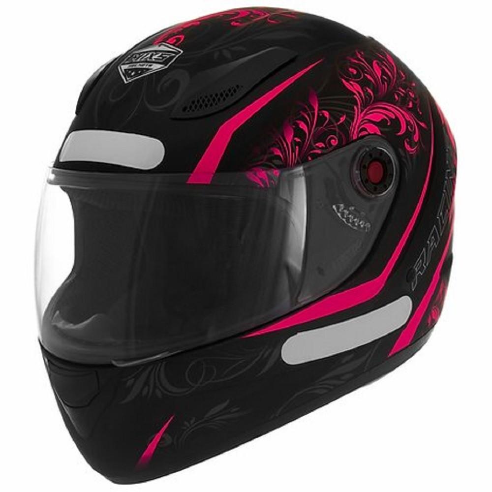 Capacete de moto fechado Mixs Fokker Racing Girls preto/rosa