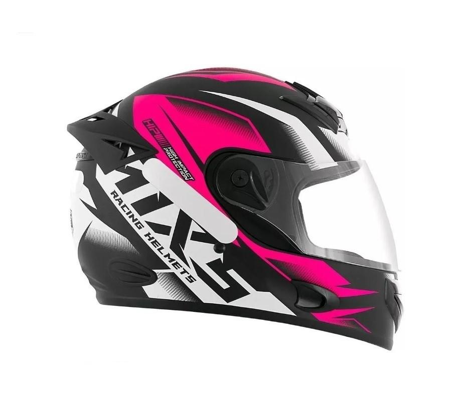 Capacete de moto fechado Mixs MX2 Storm preto fosco/rosa