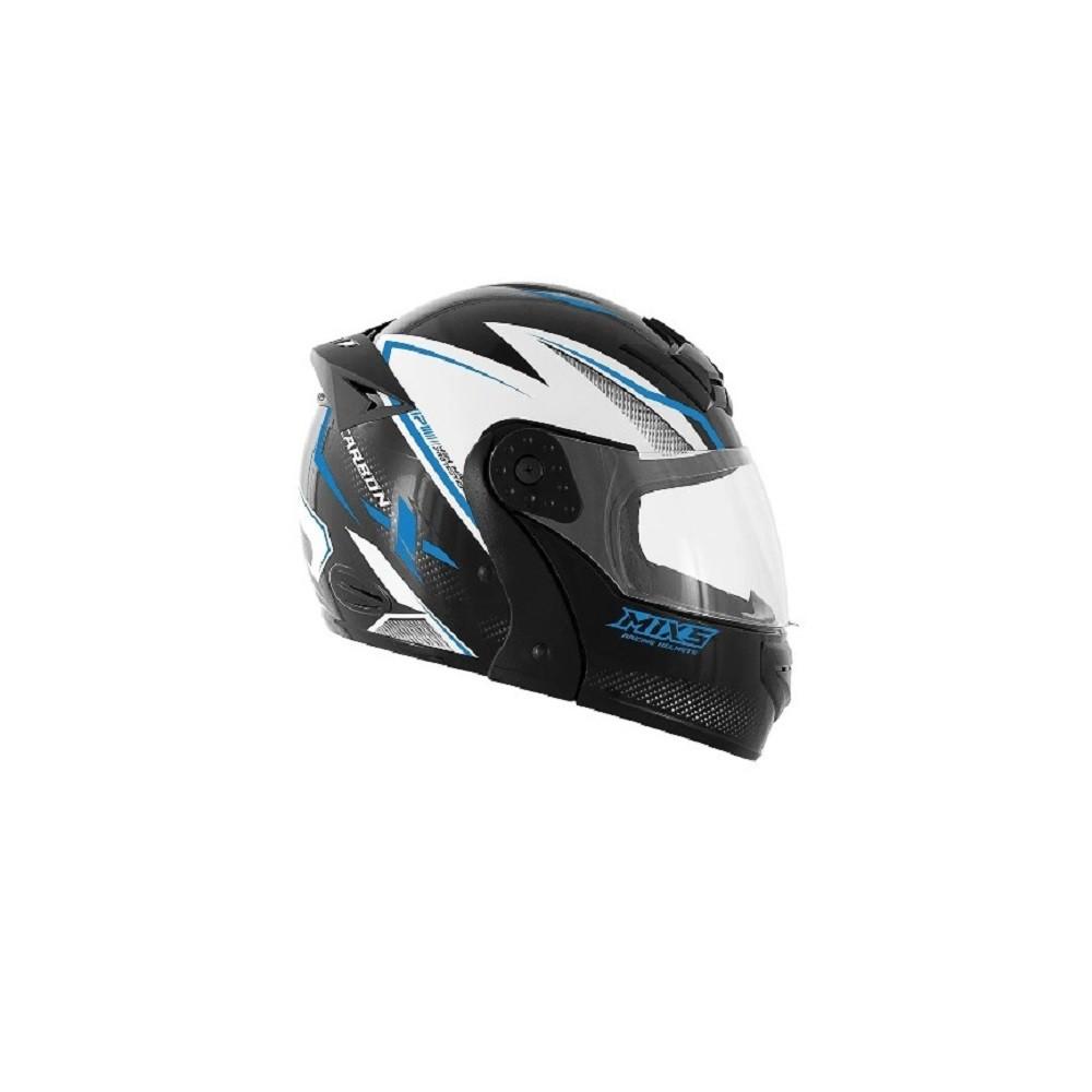 Capacete de moto Mixs Gladiator Carbon preto brilhante/azul