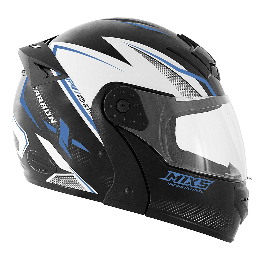 Capacete de moto Mixs Gladiator Carbon preto/azul fosco