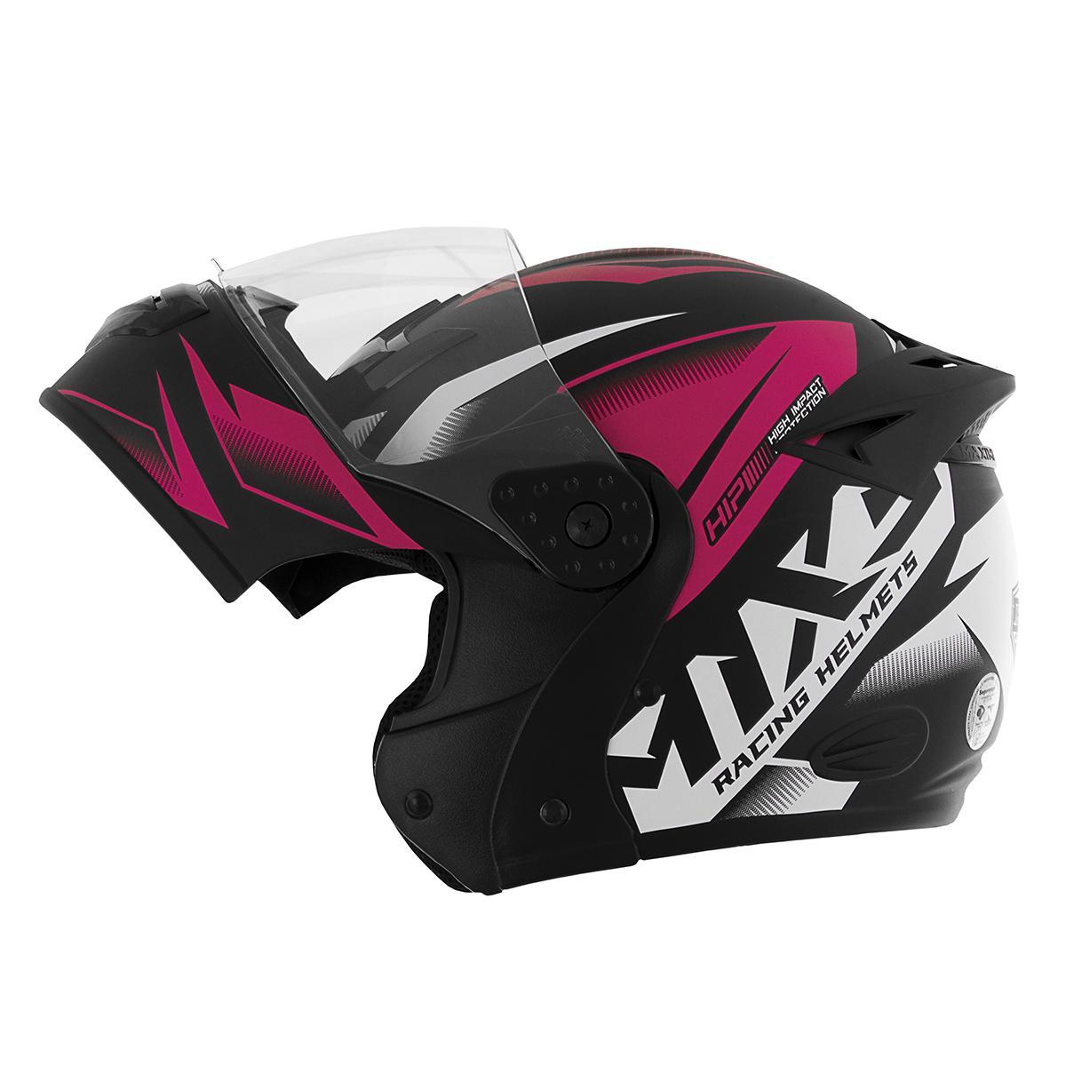 Capacete de moto Mixs Gladiator Storm escamoteável preto/rosa