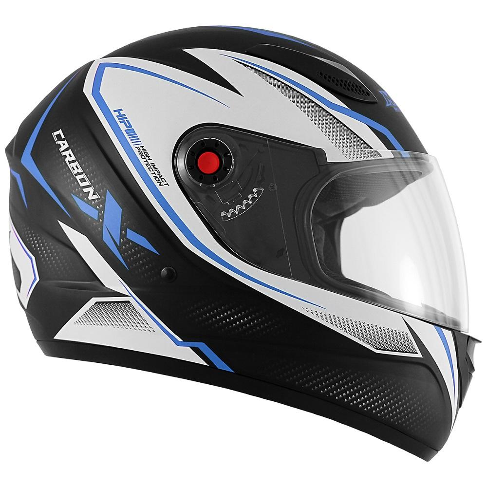 Capacete de Moto Mixs Mx2 Carbon Preto Fosco Azul
