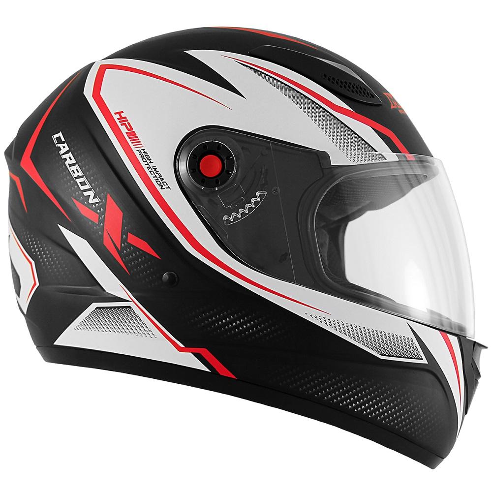 Capacete de Moto Mixs MX2 Carbon Preto Fosco Vermelho