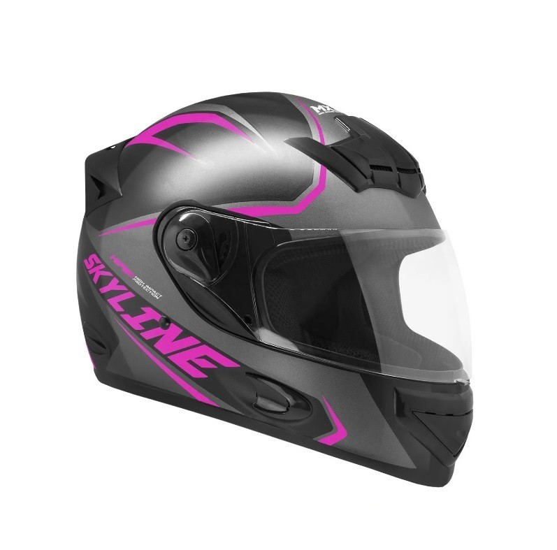 Capacete de moto Mixs MX2 Skyline preto brilhante/rosa