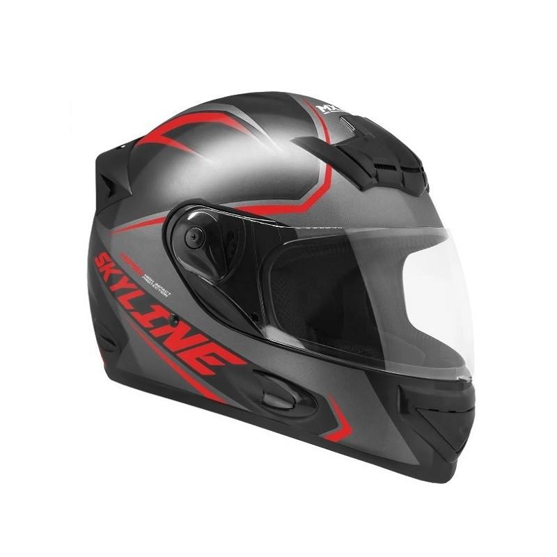 Capacete de moto Mixs MX2 Skyline preto fosco/vermelho