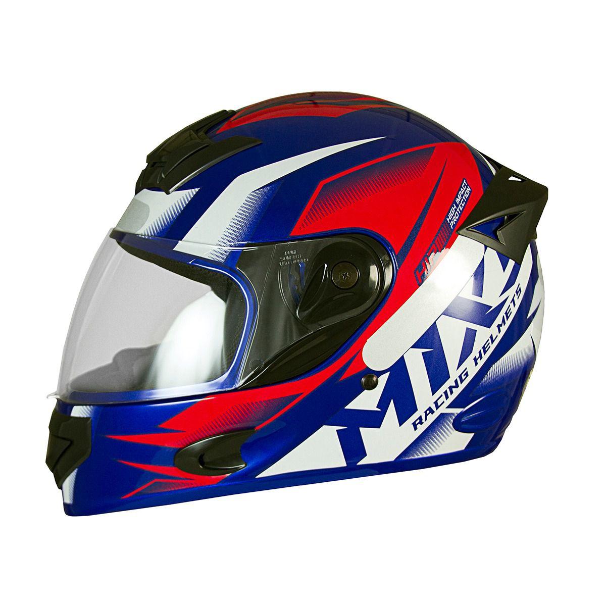 Capacete De Moto Mixs MX2 Storm Azul Fosco/Vermelho
