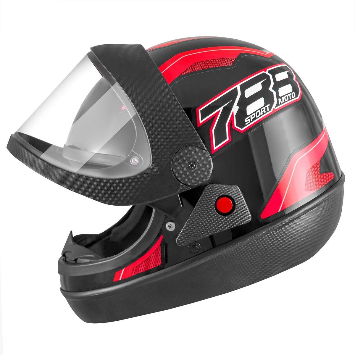 Capacete de moto New Sport Moto Preto/Vermelho