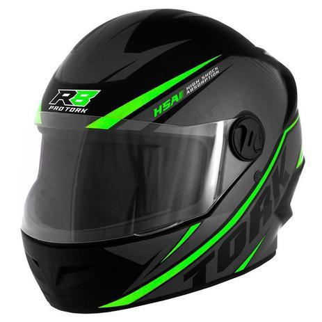 Capacete de moto Pro Tork R8 cinza/verde