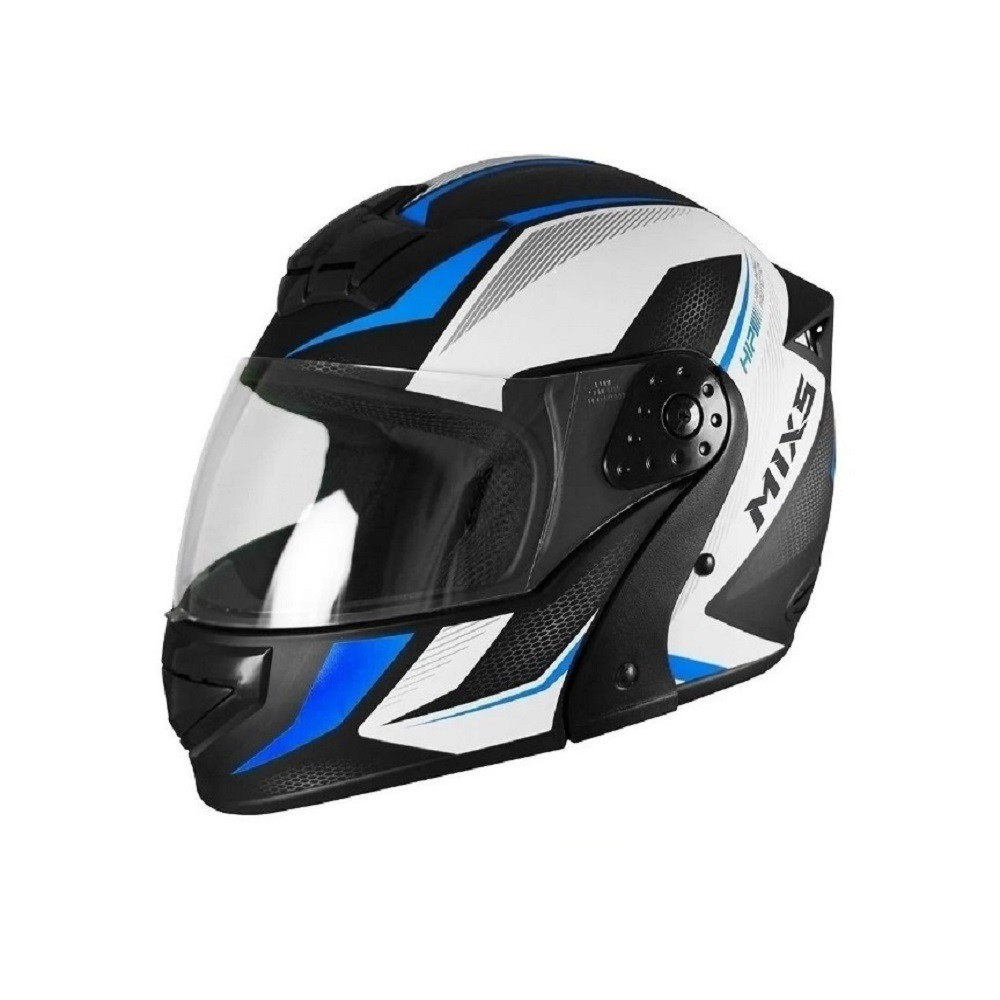 Capacete de moto robocop Mixs Gladiator Neo preto fosco/azul