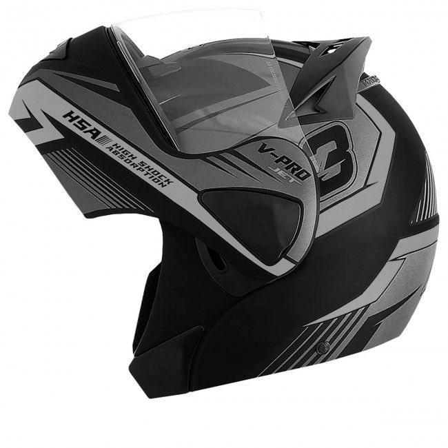 Capacete de moto Pro Tork V-Pro Jet 3 prata Escamoteável