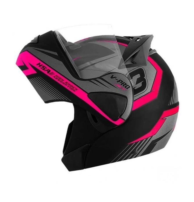 Capacete de moto Escamoteável  V-Pro Jet 3 rosa