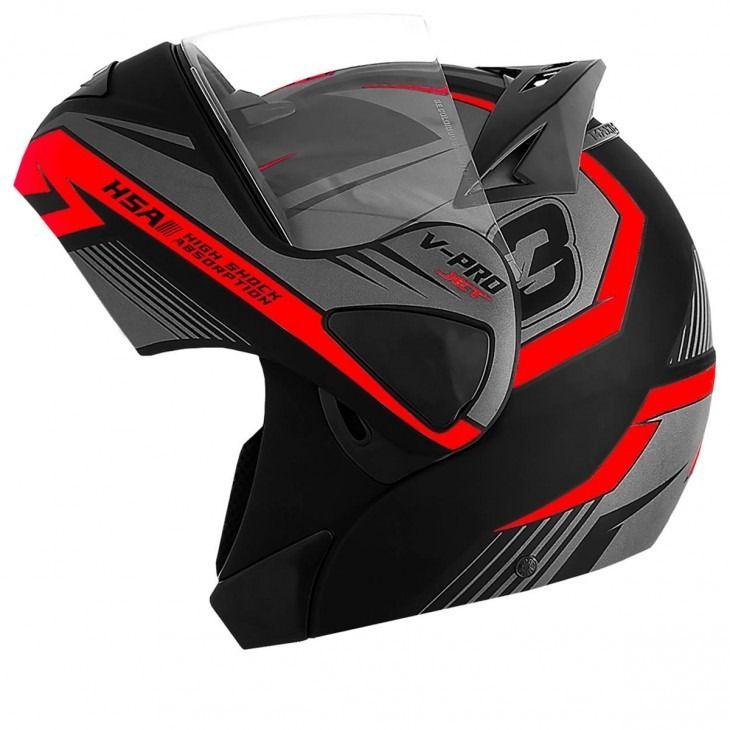 Capacete de moto escamoteável V-Pro Jet 3 vermelho