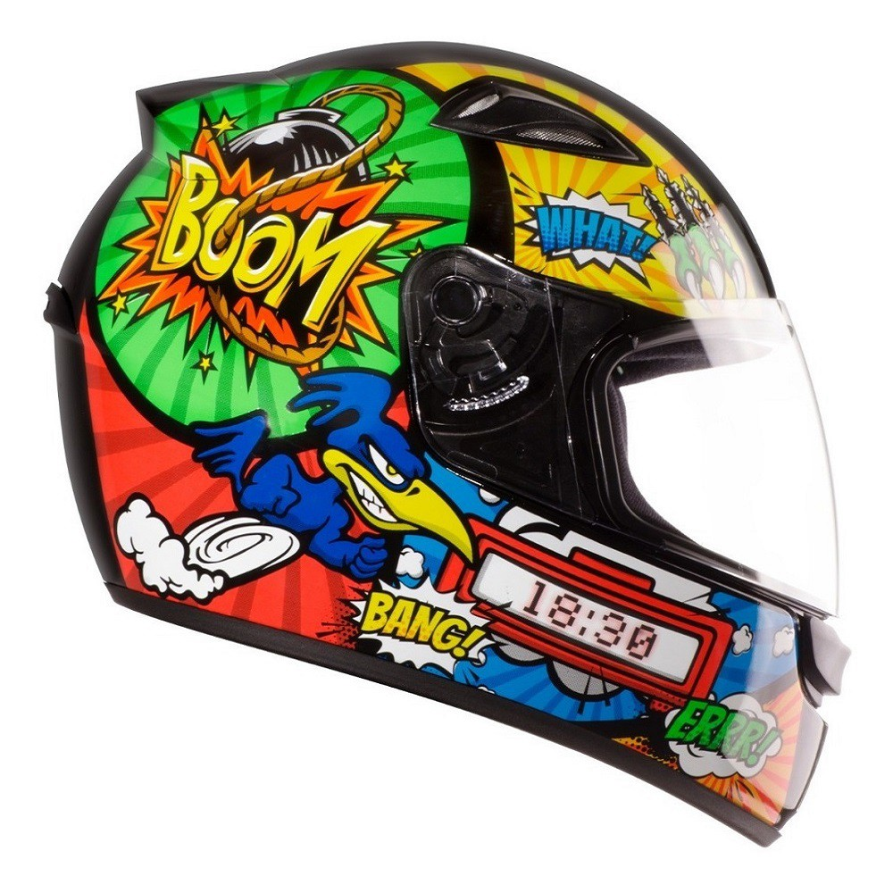 Capacete EBf New Spark Cartoon Bird preto