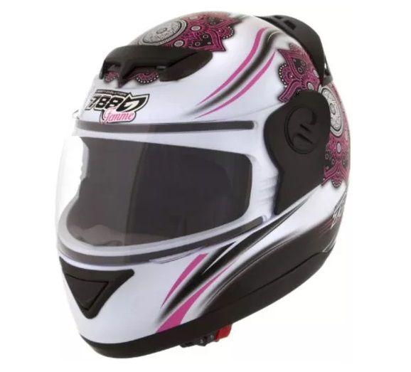Capacete Feminino De Moto Evolution G5 Femme Branco/Rosa