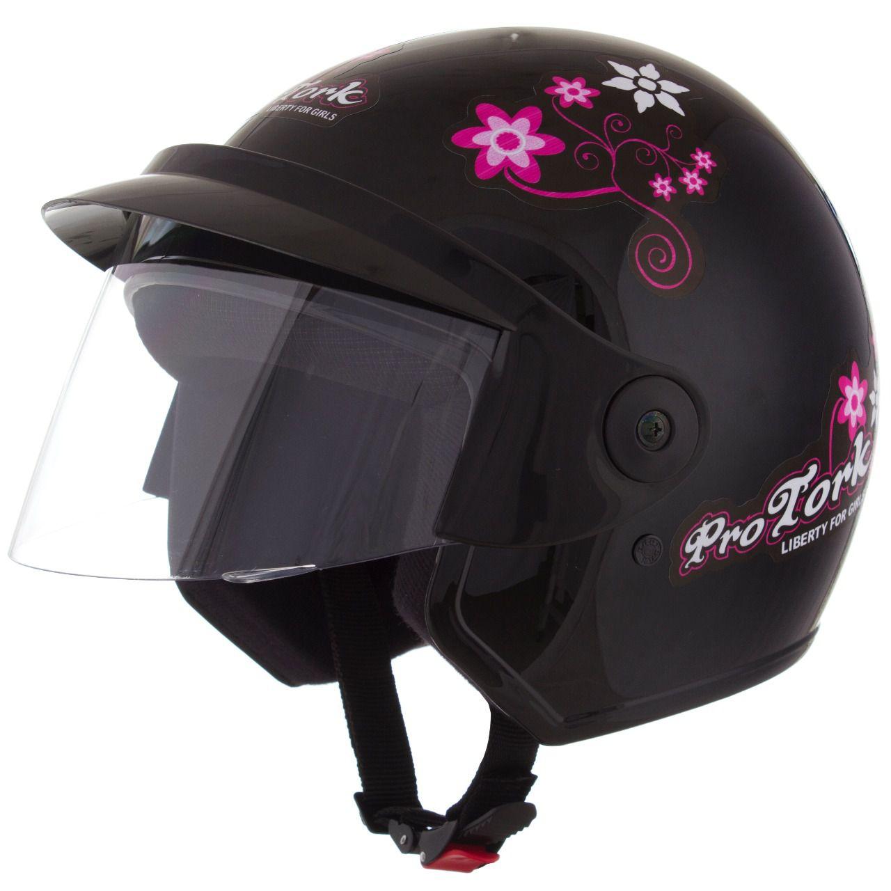 Capacete Feminino De Moto Liberty 3 Preto Girls