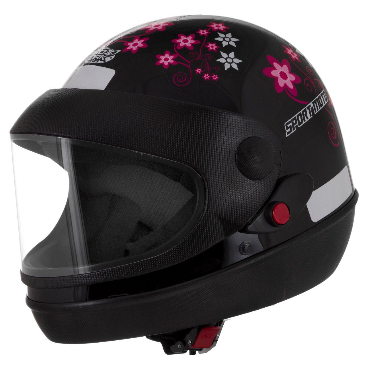 Capacete Feminino De Moto Sport Moto Preto For Girls