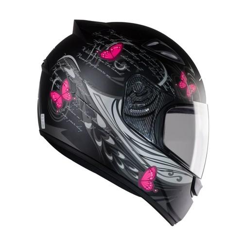 Capacete feminino EBF New Spark Borboletas preto fosco/rosa