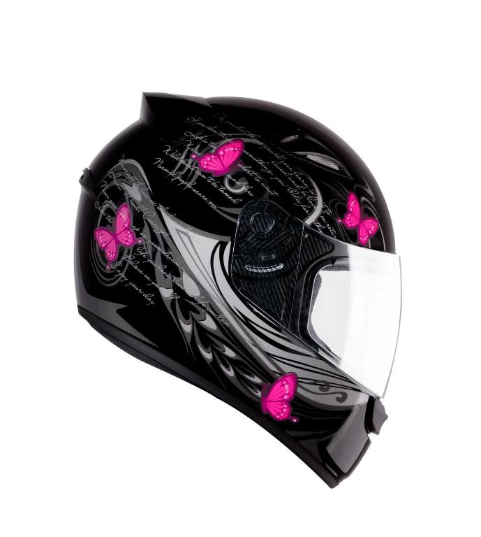Capacete feminino EBF New Spark Borboletas preto/rosa