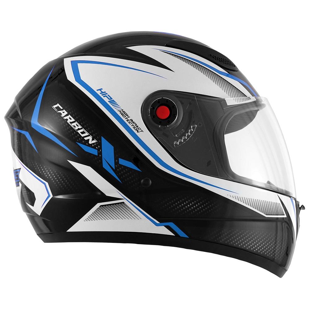 Capacete Mixs MX2 Carbon preto/azul brilhante