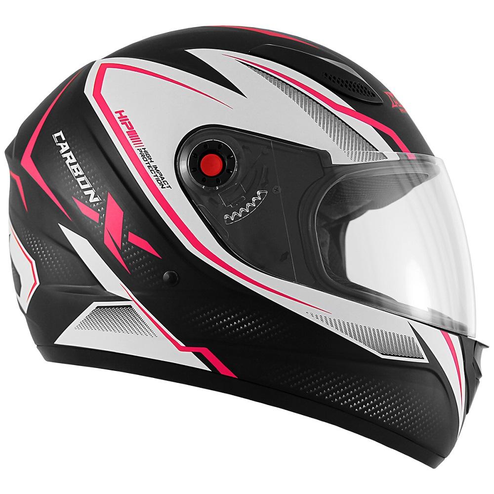Capacete Mixs MX2 Carbon preto fosco/rosa